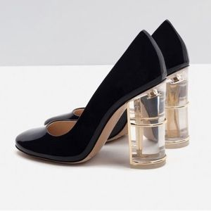 ZARA Patent Leather Clear Court Heel